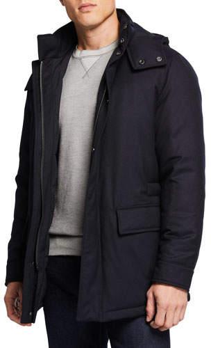 Ermenegildo Zegna Men's Wool Flannel Jacket with Removable Hood
