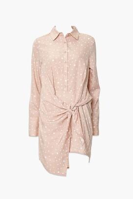 Forever 21 Knotted Polka Dot Shirt Dress