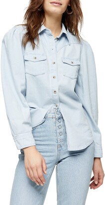 Topshop Puff Sleeve Denim Western Shirt