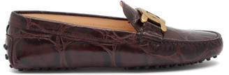 Tod's Kate Gommino-sole Crocodile-effect Leather Loafers - Burgundy