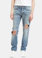 Saint Laurent Men's Destroyed Hole Skinny Jeans In Blue