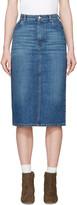 ALEXACHUNG Blue Denim Midi Skirt