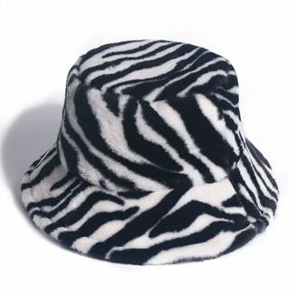 ACARYI Women Faux Fur Bucket Hats Rainbow Letter Pattern Hat Winter Outdoor Multicolor Soft Warm Hat (Zebra)