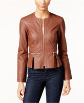 INC International Concepts Petite Faux-Leather Peplum Moto Jacket, Only at Macy's