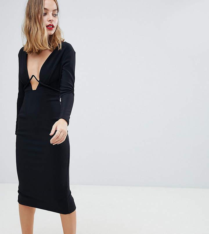 DESIGN Petite long sleeve exposed underwire bodycon midi dress