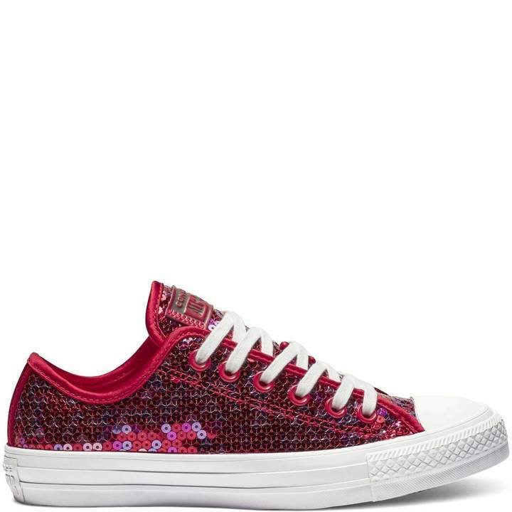 a3cc2509d50ee Chuck Taylor All Star Holiday Scene Sequin Low Top Cherry Red Womens 6