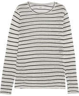 Etoile Isabel Marant Aaron Striped Slub Linen-blend Jersey Top - White