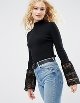 Asos Sweater with Lace Bell Sleeves