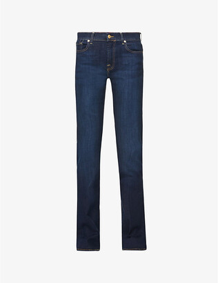 7 For All Mankind Women's Bair Rinsed Indigo Blue Bootcut Mid-Rise Jeans, Size: 25