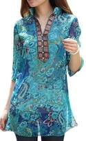 AI YOU Women's Vintage Ethnic Floral Print Casual Chiffon Shirt Blouses Tops