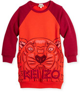 Kenzo Long-Sleeve Raglan Sweatshirt Dress, Red, Size 8-12