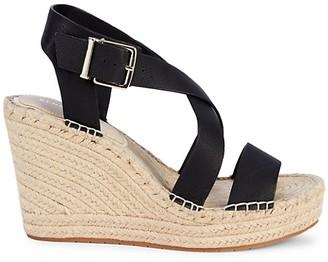 Kenneth Cole New York Owen Cross Leather Espadrille Wedge Sandals