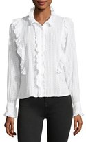Etoile Isabel Marant Yann Textured Cotton Voile Top with Ruffled Trim