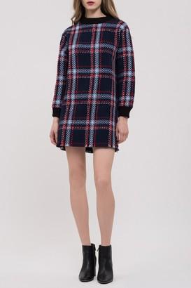 J.o.a. Fringed Plaid Shift Dress