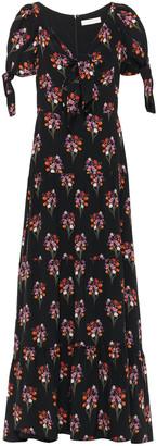 Borgo de Nor Ophelia Knotted Floral-print Silk Crepe De Chine Maxi Dress
