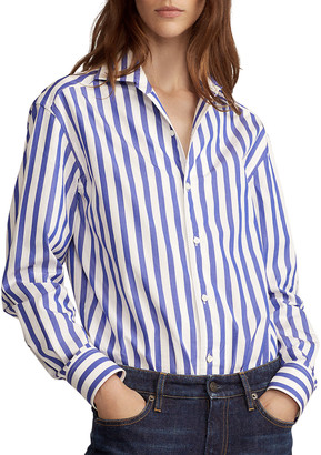 Ralph Lauren Collection Capri Striped Cotton Blouse, White