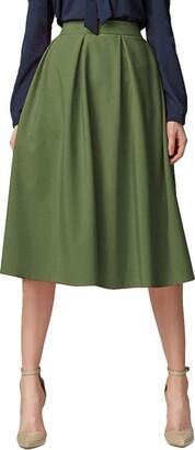 Urban GoCo Women's Flared A Line Midi Skirt with Pockets (XL