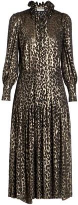Saint Laurent Metallic Leopard-Print Midi Dress