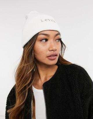 Levi's front logo beanie hat in white