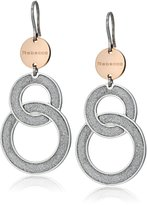 "Rebecca Soleil"" Two-Tone Double White Shimmering Overlay Small Drop Earrings"