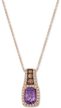 "LeVian Le Vian Amethyst (1-1/4 ct. t.w.) & Diamond (3/8 ct. t.w.) 18"" Pendant Necklace in 14k Rose Gold"