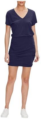 Michael Stars Odessa Supima Cotton Slub V-Neck Dress (Admiral) Women's Dress