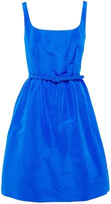 Oscar de la Renta Flared Belted Duchesse Silk-satin Mini Dress