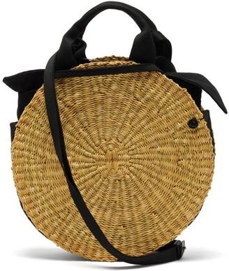Muun Rosie Circular Woven Elephant Grass Bag - Black Multi