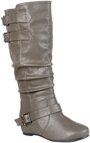 Journee Collection Gray Tiffany Slouchy Wide-Calf Boot