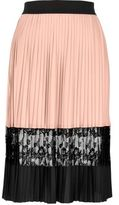 River Island Womens Light pink pleated lace midi skirt