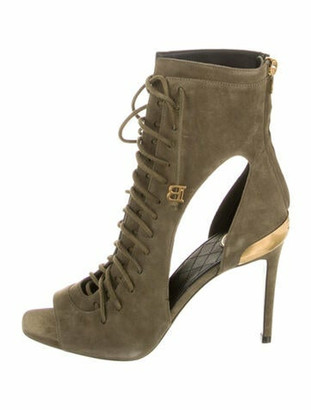 Balmain Suede Sandals Green