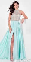 Terani Couture Royal Halter Keyhole Slit Dress