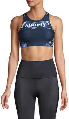 Wear It To Heart Camouflage-Print Sports Bra