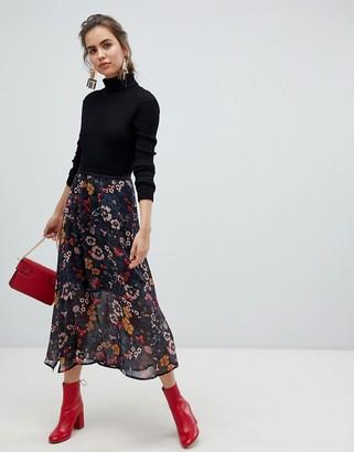 B.young floral midi skirt