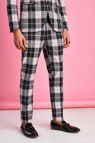 boohoo Mens Black Super Skinny Tartan Check Trouser, Black