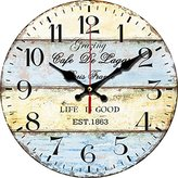 Grazing 12-inch Vintage Stripe Rustic Country Tuscan Style Arabic Numerals No Glass Wooden Decorative Round Wall Clock (Mediterranean)