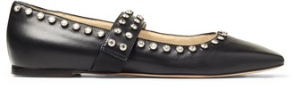 Jimmy Choo MINETTE FLAT Black Nappa Leather Ballet Flats with Crystal Embellishment