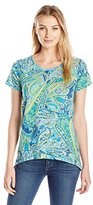 Caribbean Joe Women's Printed Slub Jersey Short Sleeve Scoop Neck Shark Bite High Low Hem Lime in Cabana Pasiley Print