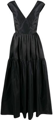 Loulou V-Neck Open Back Evening Dress