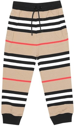 BURBERRY KIDS Icon Stripe cotton trackpants