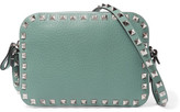 Valentino The Rockstud Leather Camera Bag - Gray green