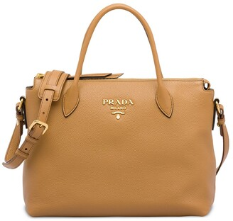 Prada double handle leather tote