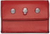 Alexander McQueen Red Mini Skull Studs Trifold Skull Wallet