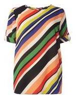 Dorothy Perkins Womens DP Curve Plus Size Multi Stripe Soft T-Shirt- Black