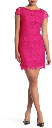 Eliza J Cap Sleeve Lace Shift Dress