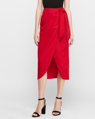 Express High Waisted Linen-Blend Wrap Midi Skirt