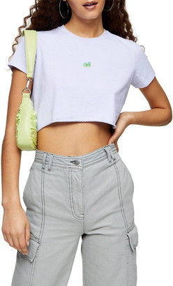 Topshop Neon Snake Embroidered Crop T-Shirt