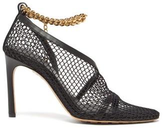Bottega Veneta Chain-strap Mesh And Leather Pumps - Black