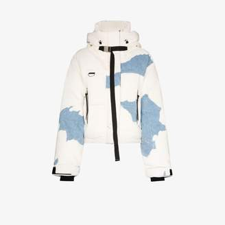 SHOREDITCH SKI CLUB Willow denim patch puffer jacket