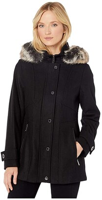 London Fog Layla Wool Blend Parka with Removable Hood
